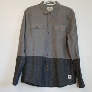 Bellfield England Button Front Gray Shirt